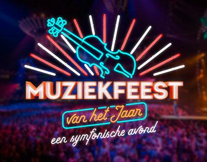 Concept and artwork for Muziekfeest TV-show labels.