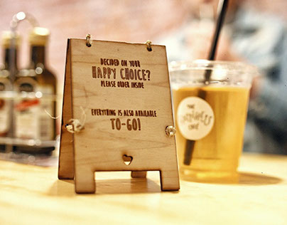 happiness Cafe table sign