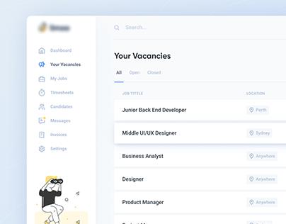 Vacancies page for online hiring platform