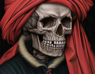 """""""Portrait of a skelly in a red turban"""" Tribute to Robe"""