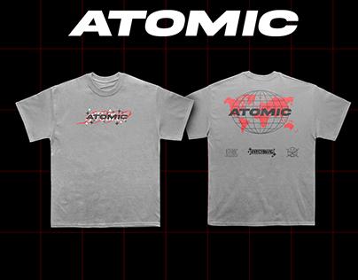 """ATOMIC T-shirt Mockup """"worldwide 1999"""""""
