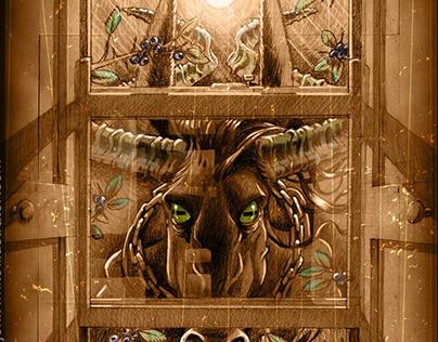 Horror art illustration of the Irish Púca: spirit/fairy