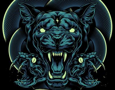 Cougar & Snakes Illustration