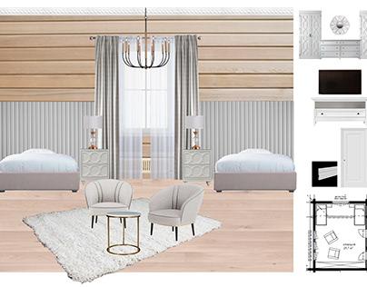 Легкая спальня в доме из бруса