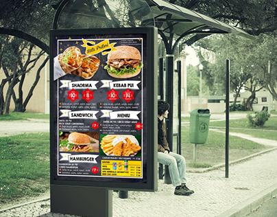 Bus Stop Advertising - Poster design for Fast Food menu