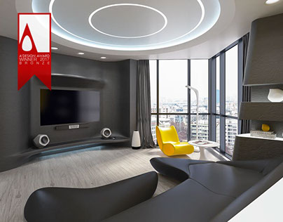 """The interior of the apartment """"Flowing space"""""""