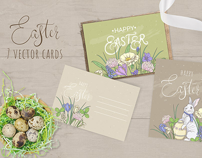 7 Easter cards (vector)