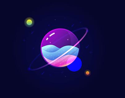 Glass Planet Vector Illustration