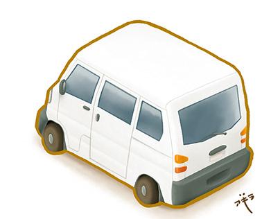 Asian transportation white mini van isometric side back