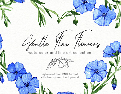 Gentle Flax Flowers. Watercolor and line art collection
