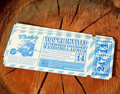 The Distillery Letterpress Wedding Launch Invitation