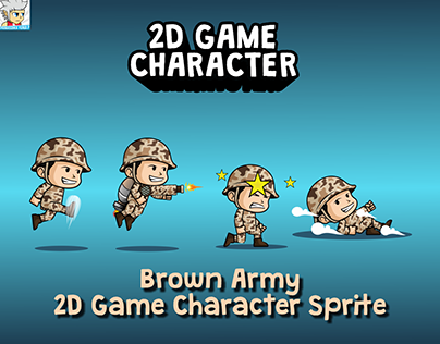 Brown Army 2D Game Character Sprite