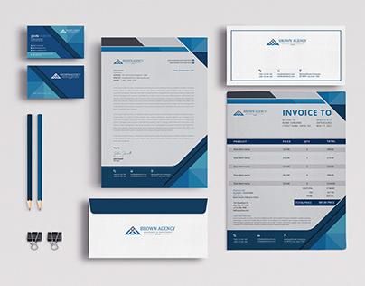 modern logo, business card, letterhead, stationery