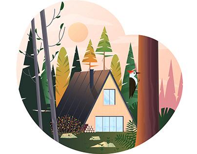 Beautiful summer landscape flat design concept