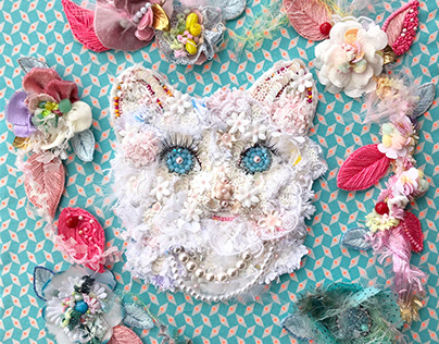 """Embroidery art """"Meow Meow 〜Flowers〜"""""""