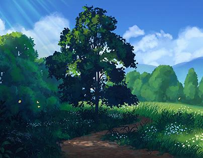 Sunny Path with Tree