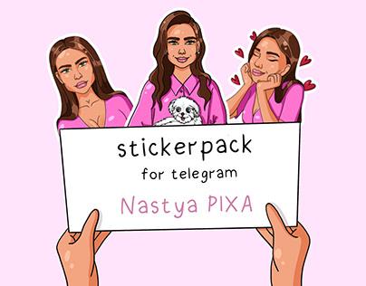 Stickerpack telegram the character Nastya PIXY