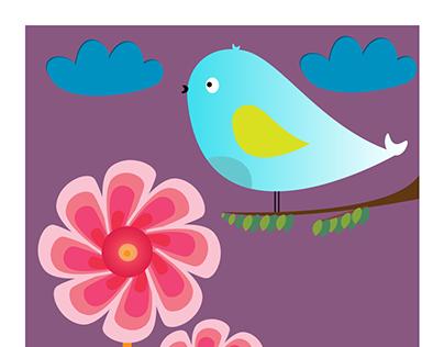 Birdie in the garden - Poster Art