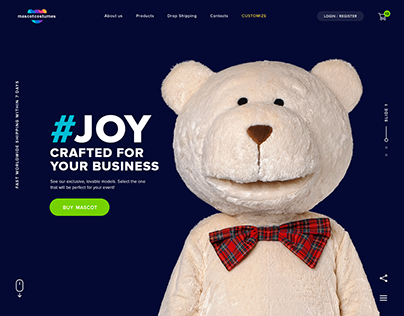 Mascot costumes website and brand identity