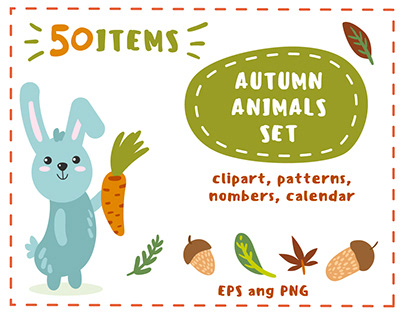 """Autumn animals"" set of vector illustrations, patterns,"