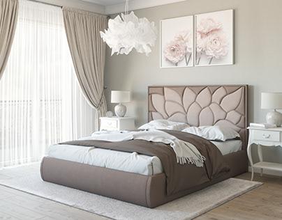 Beige bed for catalog