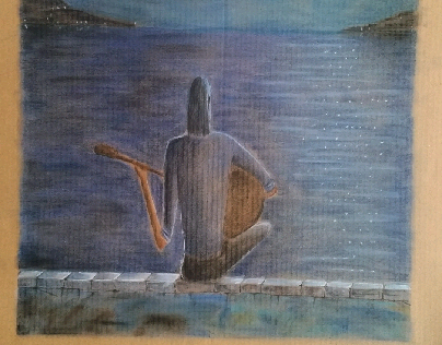 Soft pastel on cardboard experiment