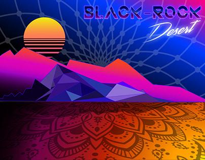Retro 80's Black Rock Sunset