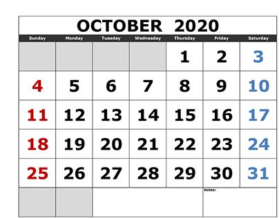 October 2020 Calendar Business
