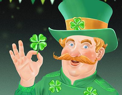 Saint Patrick day leprechaun character