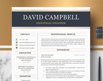 Modern & Professional Resume, CV Template; Design David