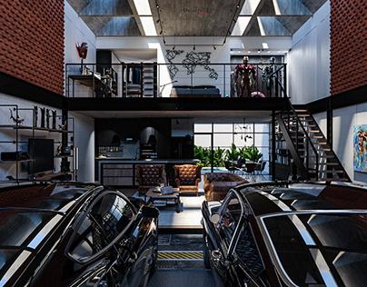 Modern Industrial Garage Loft