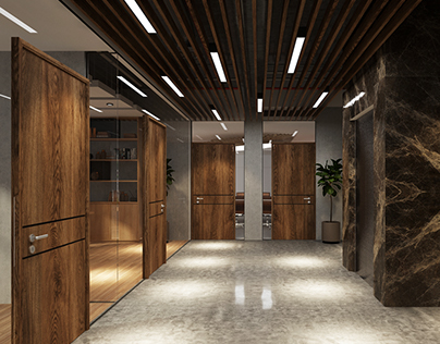 Modern Industrial Corridor & COO Room Into Office