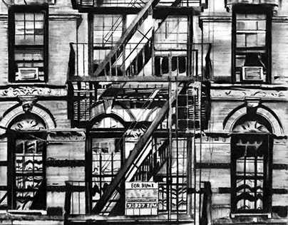 For Rent - Charcoal drawing on paper