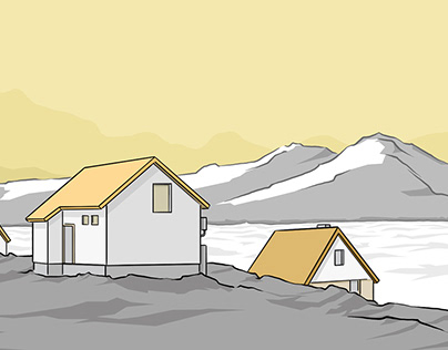 Three houses, an icy lake & a pair of mountains