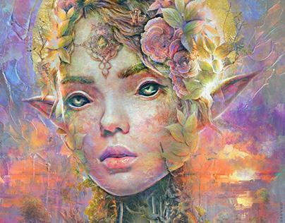 Sunset Dryad fantasy surrealism abstract art