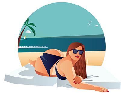 Chubby on beach