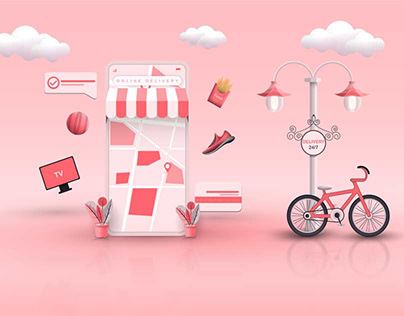 Online Shopping, Home Delivery Concept Illustrations