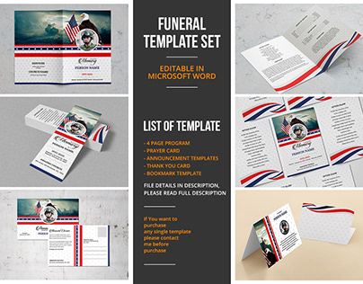 Military Army Theme Funeral Template Set