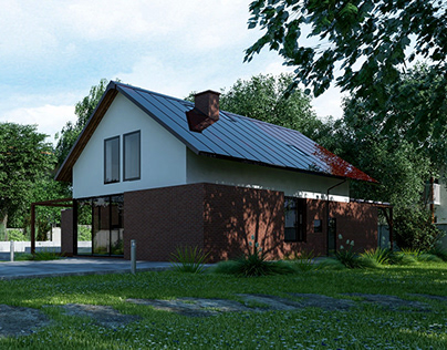 A single-family house made of red brick