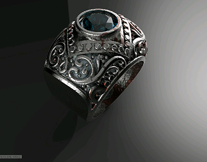 Titanium Ring with Aqua gem  inspired by RC