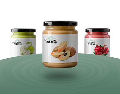 Free PSD 3 glass jars of food mockup