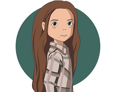 Digital portrait in the style of Hayao Miyazaki