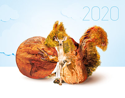 Concept of ecological calendar 2020. Photomanipulation