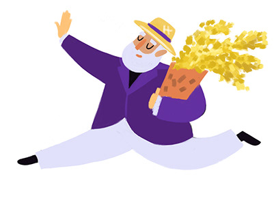 A man dancing with mimosa /character design