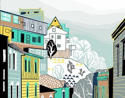 design of small mural for hostel room in Valparaiso