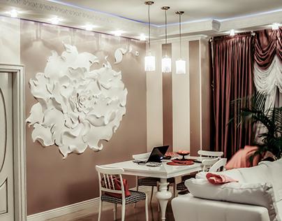 "Basrelief ""Peony"" flower 3D Wall"