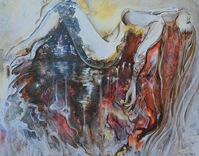 Cœur d'encre | Acrylique & encre sur toile 24X36 | DGP