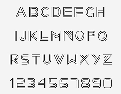 Linear Font. Minimalistic Alphabet with Thin Lines