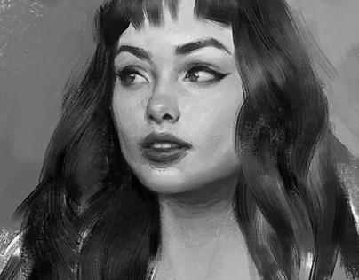 Monochrome portrait sketches