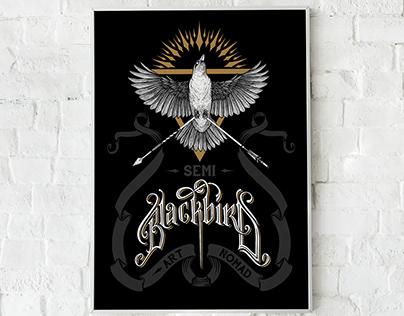 Hand drawn poster Blackbird